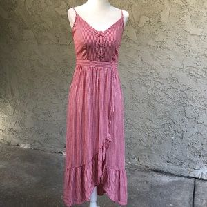 American Eagle Red Gingham Ruffle Dress Small